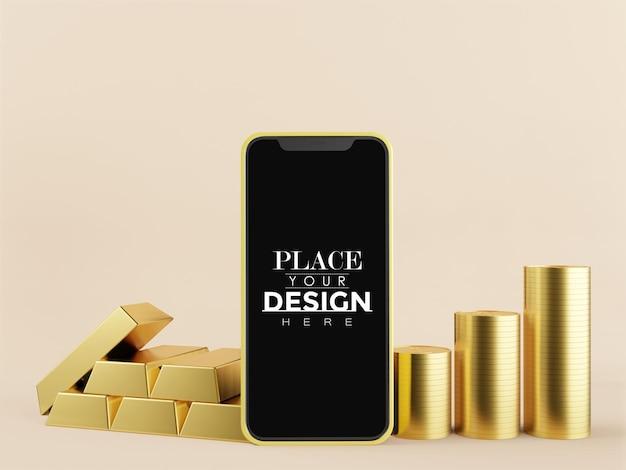 Maquette de téléphone intelligent à écran blanc avec de l'or
