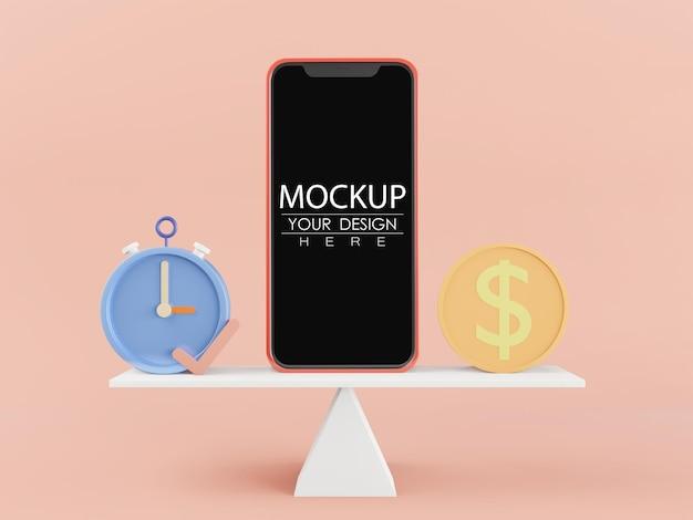 Maquette de téléphone intelligent à écran blanc avec pièce de monnaie et réveil en équilibre