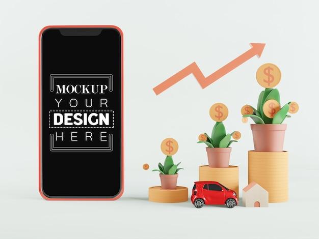 Maquette de téléphone intelligent à écran blanc avec de plus en plus d'argent