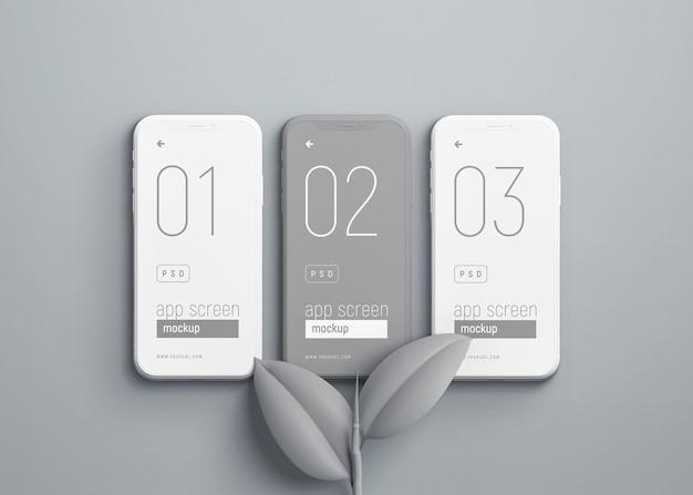 Maquette de téléphone intelligent avec des feuilles grises