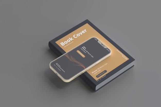 Maquette de téléphone intelligent avec livre à couverture rigide