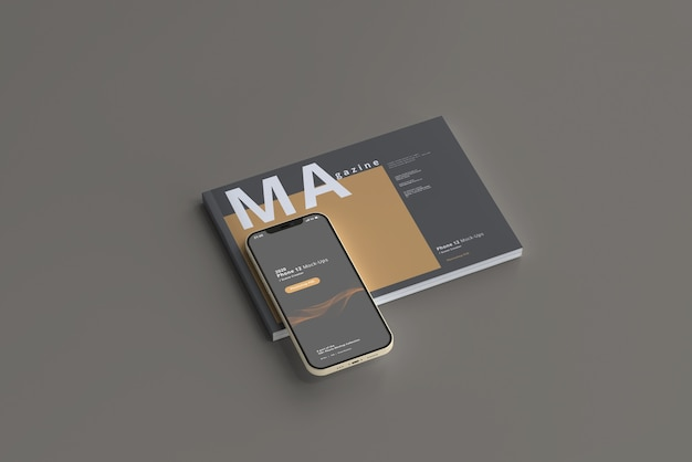 Maquette de téléphone intelligent avec magazine horizontal