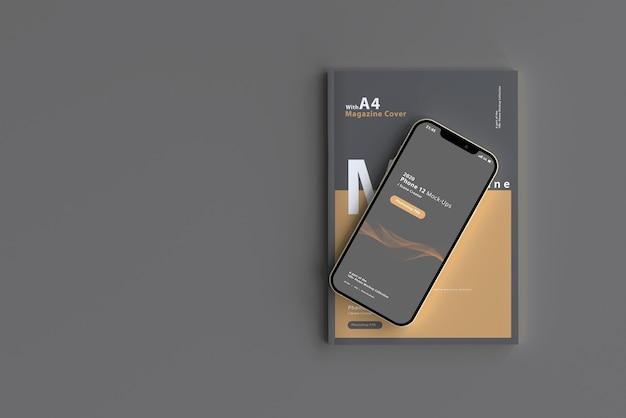 Maquette de téléphone intelligent avec magazine