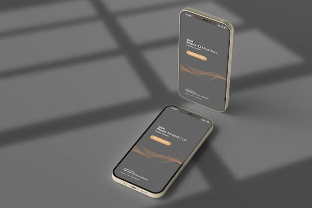 Maquette de téléphone intelligent avec superposition d'ombre