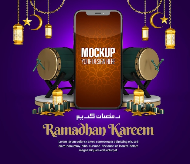 Maquette de téléphone islamique ramadan kareem pour la publication sur les médias sociaux et le modèle de promotion marketing