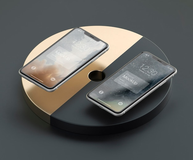 Maquette de téléphone à lévitation sombre et cuivre
