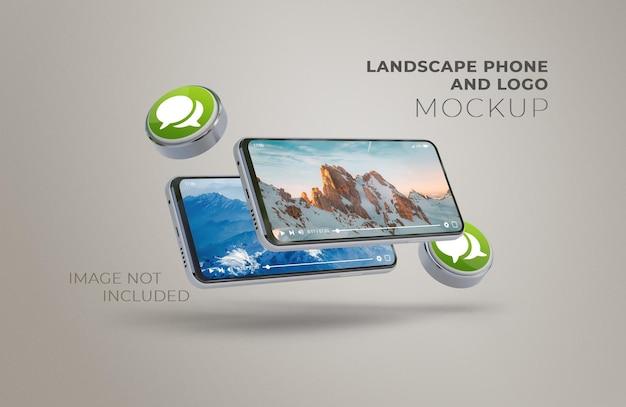 Maquette de téléphone et de logo de paysage