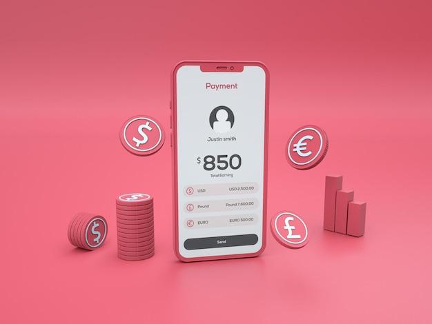 Maquette de téléphone mobile en argile de passerelle de paiement en ligne