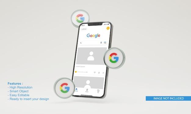 Maquette de téléphone mobile icône 3d illustration google