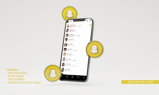 Maquette de téléphone mobile icône 3d illustration snapchat