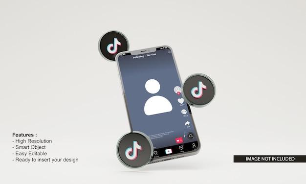 Maquette de téléphone mobile illustration tiktok de rendu 3d