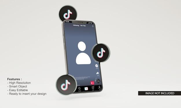 Maquette de téléphone mobile tiktok icône 3d