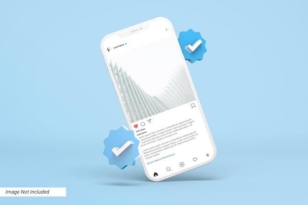 Maquette de téléphone avec modèle de publication instagram et icône vérifiée en 3d