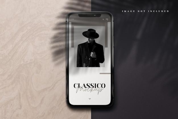 Maquette de téléphone moderne 3d avec superposition d'ombres