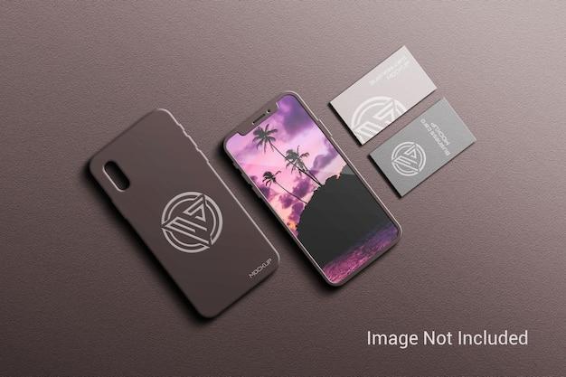 Maquette de téléphone portable avec cartes de visite
