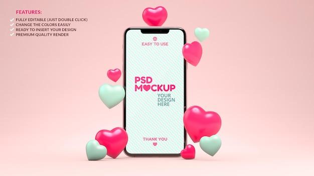 Maquette de téléphone portable avec des coeurs pour la conception de la saint-valentin