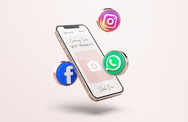 Maquette de téléphone portable en or rose avec des icônes de médias sociaux 3d