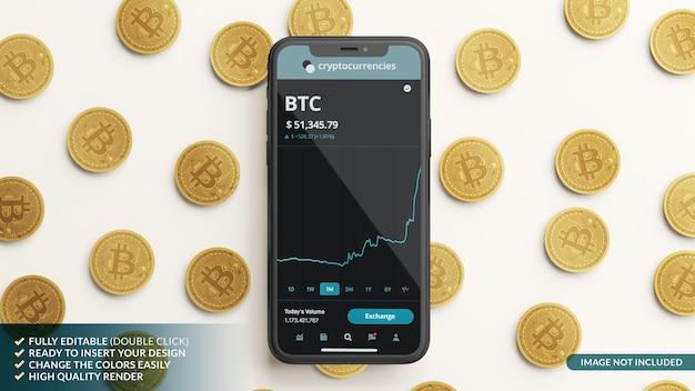 Maquette de téléphone portable et quelques bitcoins en rendu 3d