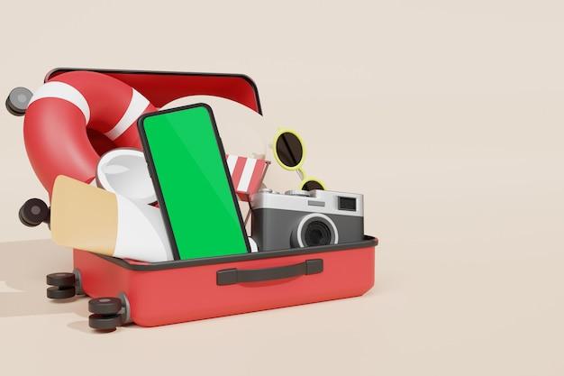 Maquette de téléphone portable rendu 3d pour le créateur de scène dans le thème de la publicité des vacances d'été