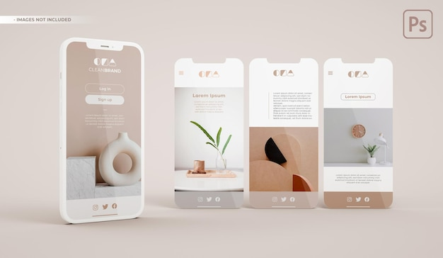 Maquette de téléphone avec trois diapositives en rendu 3d. développement d'interface d'application