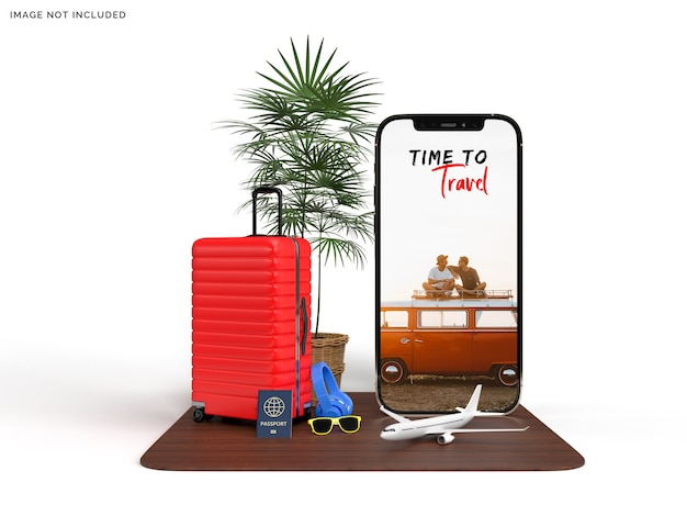 Maquette de téléphone et valise avec accessoires d'avion voyageur