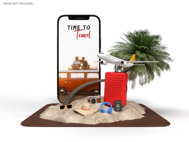 Maquette de téléphone et valise avec accessoires de voyageur