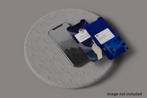 Maquette de téléphones 3d frontale minimale en lévitation