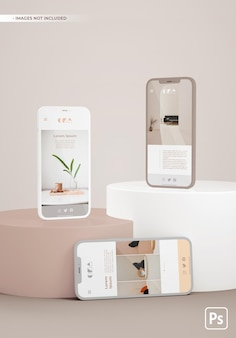 Maquette de téléphones sur des plates-formes avec un design app ui ux.