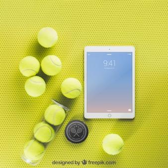 Maquette de tennis avec tablette