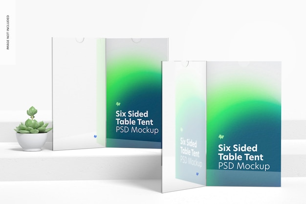 Maquette de tentes de table en acrylique à six faces, vue de face
