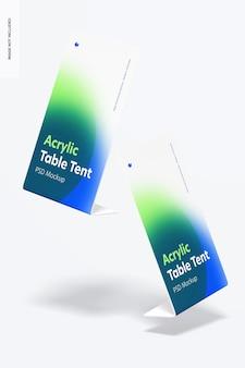 Maquette de tentes de table en acrylique tombant