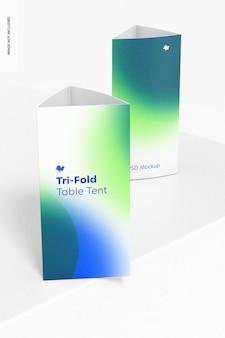 Maquette de tentes de table à trois plis