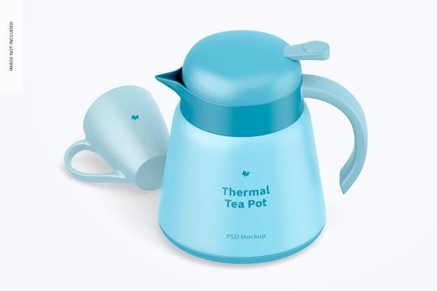 Maquette de théière thermique, vue isométrique de gauche