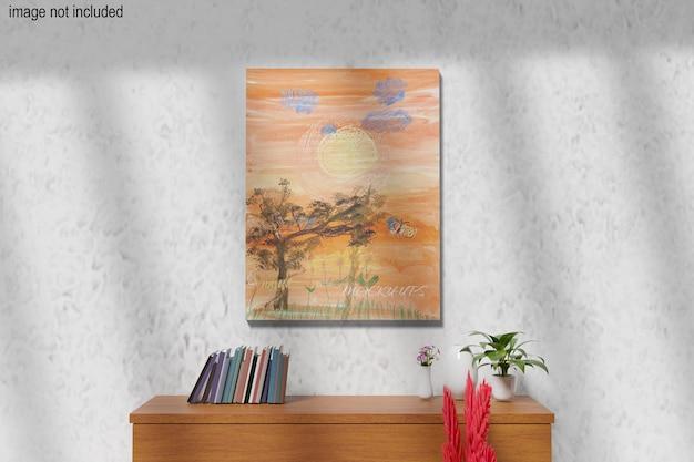 Maquette de toile appuyée sur le mur