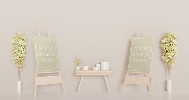 Maquette de toile de couple sur chevalet en bois