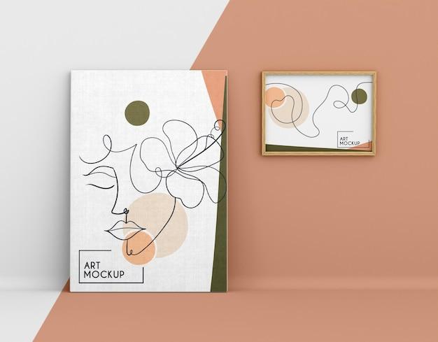 Maquette de toile avec des formes organiques et un cadre