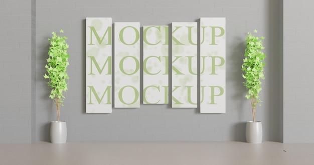 Maquette de toile à panneaux multiples sur le mur avec quelques plantes de décoration. maquette de papier peint pour la décoration