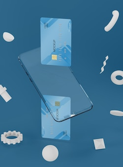 Maquette transparente de téléphone et de carte