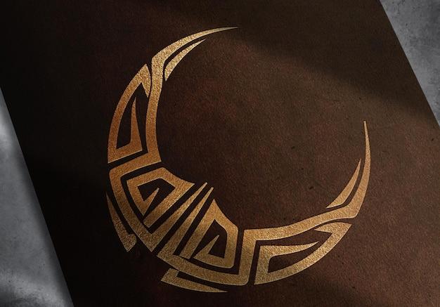 Maquette tribale de luxe en cuir doré en demi-lune en relief