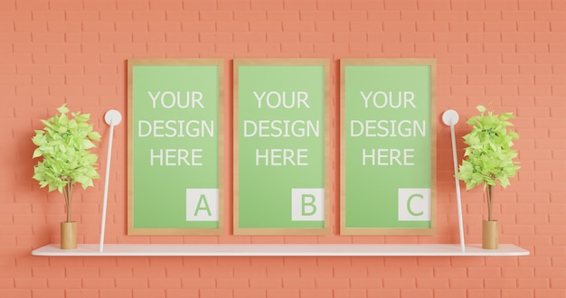 Maquette de trois affiches et bannières sur le mur