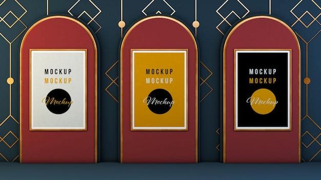 Maquette de trois affiches sur le rendu 3d de la galerie art déco