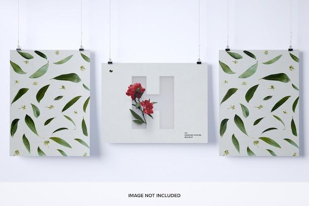 Maquette de trois affiches suspendues
