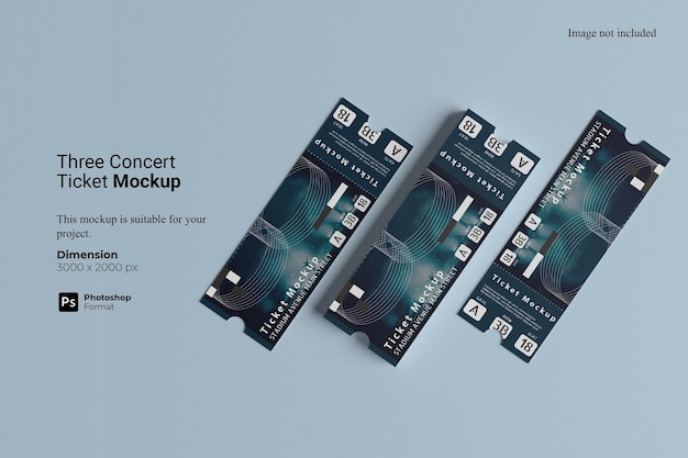 Maquette De Trois Billets De Concert PSD Premium
