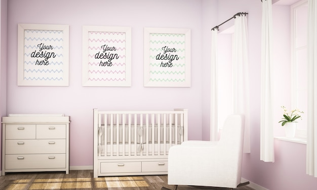 Maquette de trois cadres sur la chambre de bébé fille
