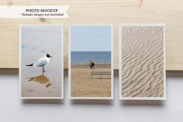 Maquette de trois cartes photo vierges verticales