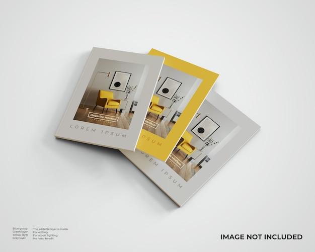 Maquette de trois magazines éditoriaux. vue de dessus