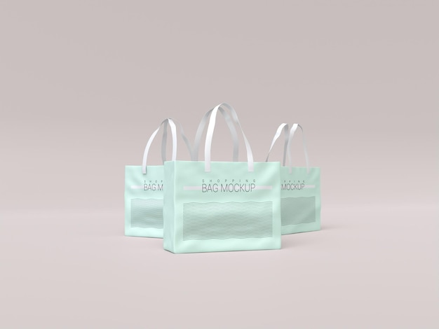 Maquette de trois sacs à provisions réalistes