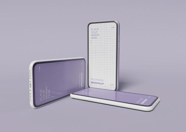 Maquette de trois smartphones