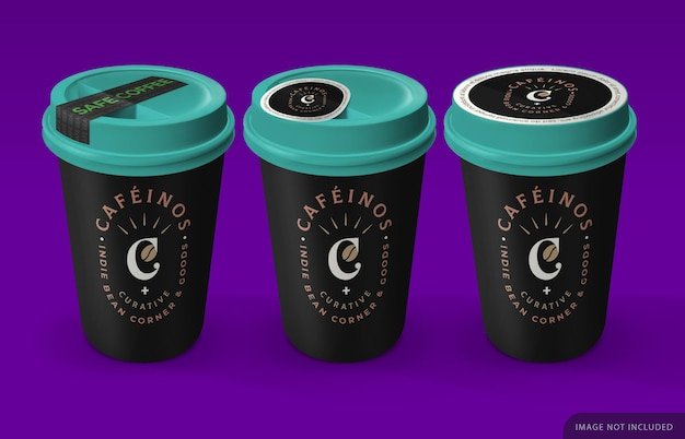 Maquette de trois tasses à café à emporter avec autocollant de sécurité