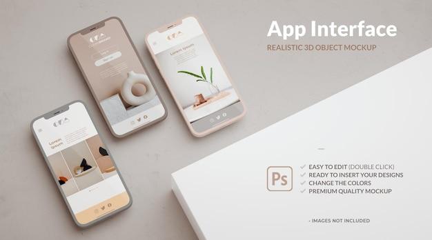 Maquette de trois téléphones et espace de copie pour l'application ui ux et la présentation de l'interface